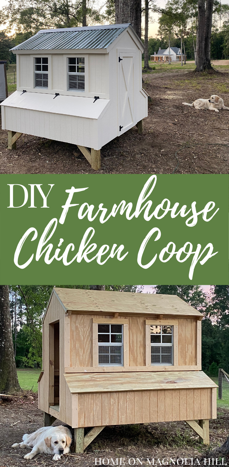 DIY farmhouse chicken coop chickens Labrador retriever farm backyard chickens